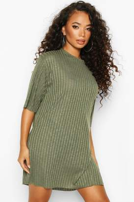 boohoo Petite Rib Knitted Slouchy T-Shirt Dress