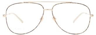 Gucci Metal Aviator Glasses - Womens - Gold