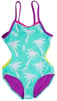 Big Chill Seafoam Palm Tree One Piece - Girls
