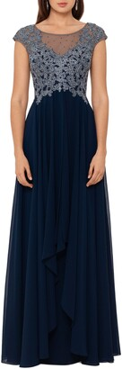 Xscape Evenings Embroidered Top Chiffon Gown