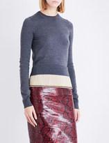Rochas Contrast-pleat waffle-knit wool jumper