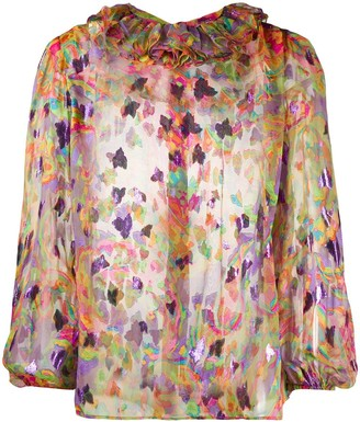 Yves Saint Laurent Pre Owned 1980s Sheer Floral Shirt