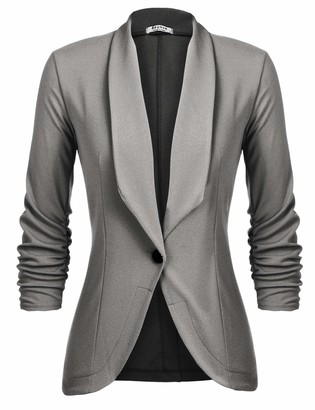 UNibelle Women's Blazer Jacket Women Blazer Jacket Suit Casual Work Solid Color Office Ruched Sleeve Red Wine XL