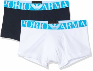 Emporio Armani Men's Fashion Waistband-Fluo Logoband 2-Pack Trunk