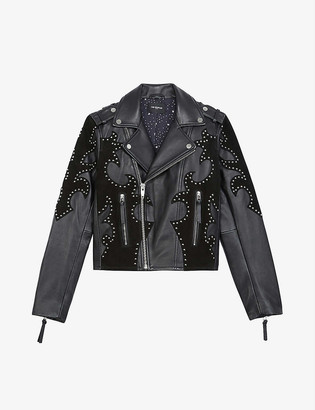 The Kooples Studded leather and suede biker jacket