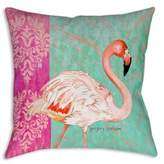 Breezy Palms Flamingo Square Indoor/Outdoor Throw Pillow