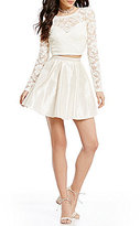 B. Darlin Long-Sleeve Lace Top Two-Piece Dress