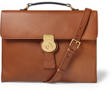 Burberry Embossed Leather Briefcase - Tan