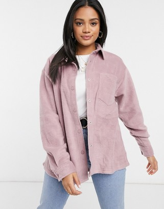 ASOS DESIGN oversized shacket in fleece