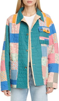 Bode One of a Kind Reworked Quilt Floral Nine Patch Workwear Jacket