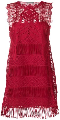 Alberta Ferretti Fringed Hem Mini Dress
