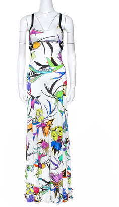 Just Cavalli White Floral Print Jersey Cutout Detail Maxi Dress S