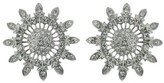 Social Gallery by Roman Round Sun Shaped Crystal Earrings - Clear