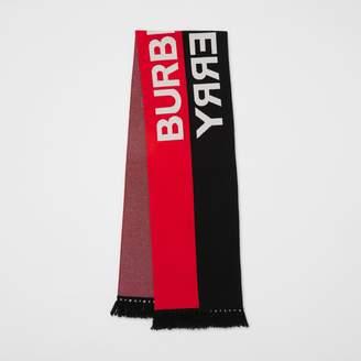 Burberry Logo Detail Striped Cashmere Jacquard Scarf