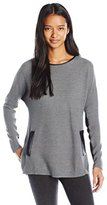Amy Byer A. Byer Juniors Long Sleeve Scoop Neck High-Low Sweater with Pleather Trim