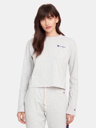Champion Reverse Weave Long Sleeve Crewneck Crop T-Shirt