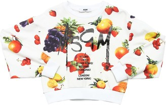 MSGM Fruit Printed Cotton Cropped Sweatshirt