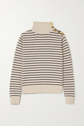 By Malene Birger Layia Striped Merino Wool And Cotton-blend Sweater - Cream