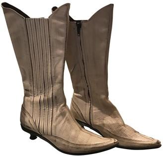 Vic Matié Ecru Leather Ankle boots