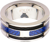 FINE JEWELRY Mens Stainless Steel Blue Carbon Fiber Black Cable Steel Inlay Ring
