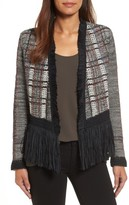 Nic+Zoe Women's Plaid Tweed Fringe Jacket