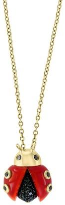 Effy 14K Gold Black Onyx, Red Agate Diamond Ladybug Pendant Necklace