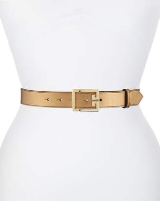 Givenchy Metallic Leather Belt w/ Double-G Logo Buckle