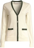 Tory Burch Madeline Stripe-Trim Merino Wool Cardigan