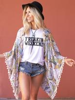 West Coast Wardrobe Festival Feen Printed Kimono in Teal