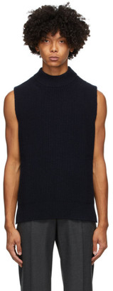 Marni Navy Wool Ribs Sleeveless Sweater