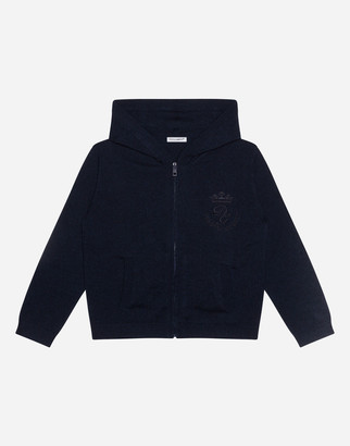 Dolce & Gabbana Hooded Cashmere Sweater With Heritage Embroidery