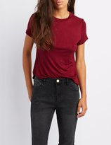 Charlotte Russe Knotted Open-Back Tee