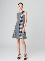 Oscar de la Renta Patchwork Houndstooth Tweed Dress