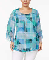 JM Collection Plus Size Chiffon Necklace Top, Created for Macy's