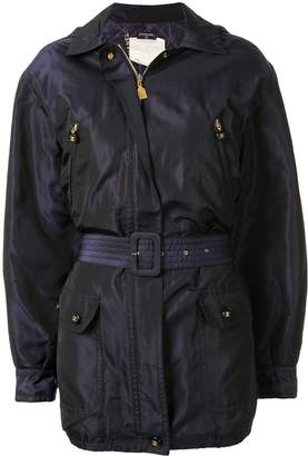 Chanel Pre-Owned silk iridescent hooded belted jacket