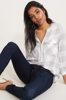 Dynamite Zip Front Plaid Blouse