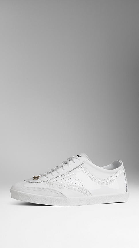 Burberry Brogue Detail Patent Leather Trainers