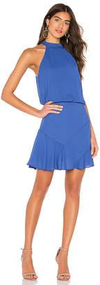 Krisa Asymmetrical Flare Mini Halter Dress