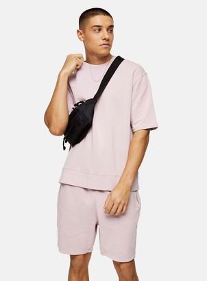 Topman Washed Lilac Short Sleeve Sweatshirt