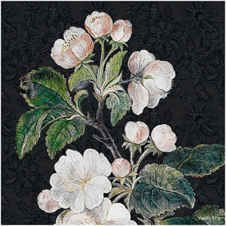 Vanilla Fly - Appleblossom Flower Print - Black - 50x50cm