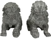 "Oriental Furniture 6"" Sitting Foo Dog Statues (Set of Two)"