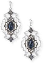 Armenta New World Large Open Scroll Marquis Blue Pietersite & Diamond Earrings