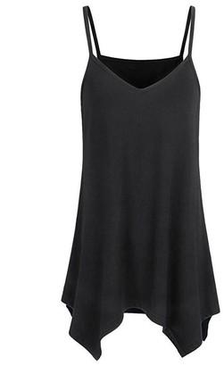 ESAILQ 2018 Fashion Tops Womens Casual Lace Asymmetrical Feather Vest Handkerchief Hem Flowy Top Summer Spaghetti Strap Camisoles Tank Print Tankwomen Irregular Loose V Neck Cami Tops Blouse