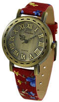 Geneva Platinum Antiqued Goldtone & Red Floral Bracelet Watch