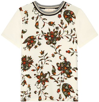 Tory Burch Printed Silk And Cotton T-shirt