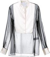 Lanvin sheer bib blouse - women - Linen/Flax/Polyamide/Acetate - 38