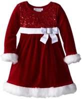 Bonnie Jean Girls Glitter Velvet Sequin Christmas Holiday Dress, 12M