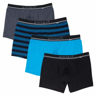 Papi Men's Cotton Stretch Yarn Dye Solid Boxer Briefs Pack of 4