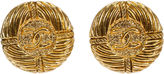 One Kings Lane Vintage Chanel Gold Ribbed Earrings, 1993