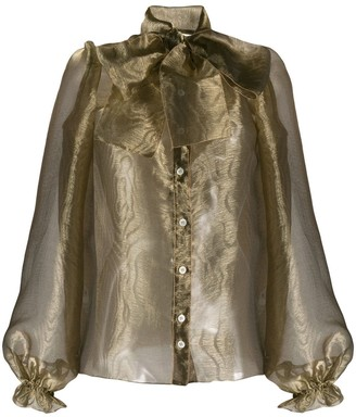 Dolce & Gabbana Sheer Pussy Bow Blouse